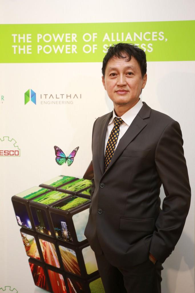 สกล เหล่าสุวรรณ กรรมการผู้จัดการ บริษัท อิตัลไทยวิศวกรรม จำกัด แถลงข่าวความสำเร็จ โรงไฟฟ้าแสงอาทิตย์ อิตัลไทย