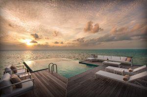 Conrad Maldives บริเวณหมู่เกาะ Rangali ห้อมล้อมไปด้วยมหาสมุทรอินเดีย